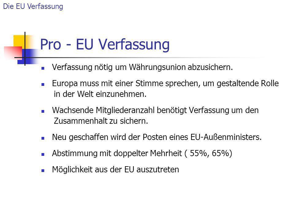 Pro - EU Verfassung Verfassung nötig um Währungsunion abzusichern. Europa muss mit einer Stimme sprechen, um gestaltende Rolle in der Welt einzunehmen