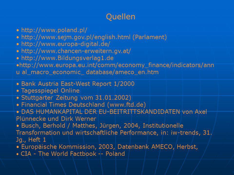 Quellen http://www.poland.pl/ http://www.sejm.gov.pl/english.html (Parlament) http://www.europa-digital.de/ http://www.chancen-erweitern.gv.at/ http:/