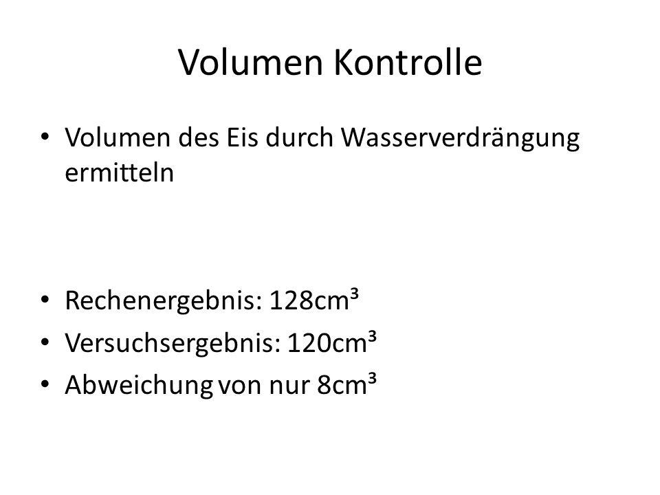 Volumen Kontrolle Volumen des Eis durch Wasserverdrängung ermitteln Rechenergebnis: 128cm³ Versuchsergebnis: 120cm³ Abweichung von nur 8cm³