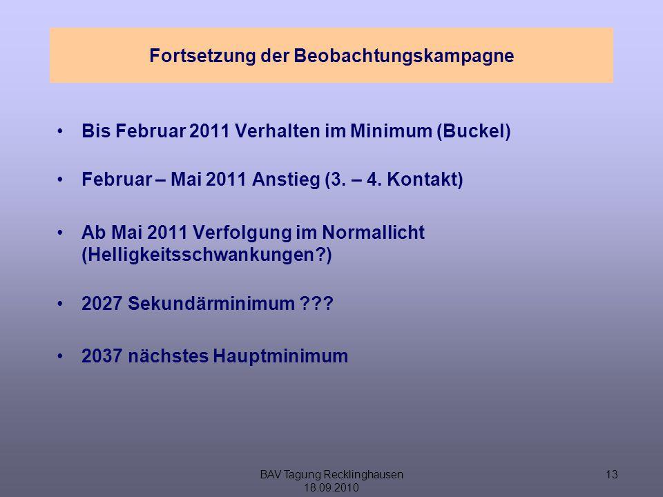 BAV Tagung Recklinghausen 18.09.2010 13 Fortsetzung der Beobachtungskampagne Bis Februar 2011 Verhalten im Minimum (Buckel) Februar – Mai 2011 Anstieg (3.