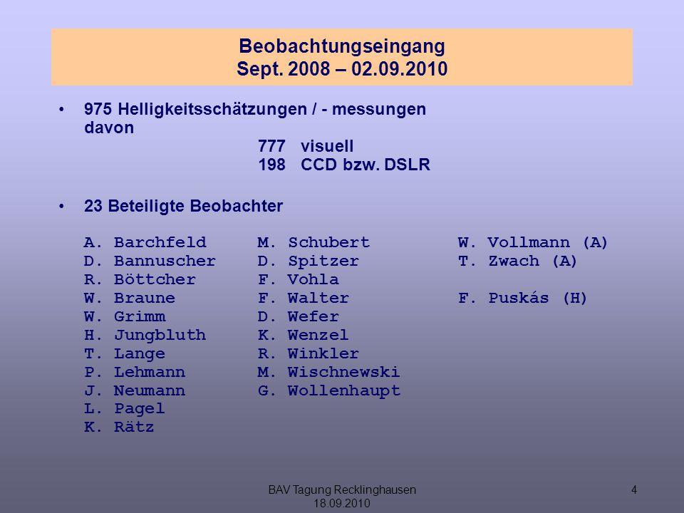 BAV Tagung Recklinghausen 18.09.2010 5 Gemeinschaftslichtkurve