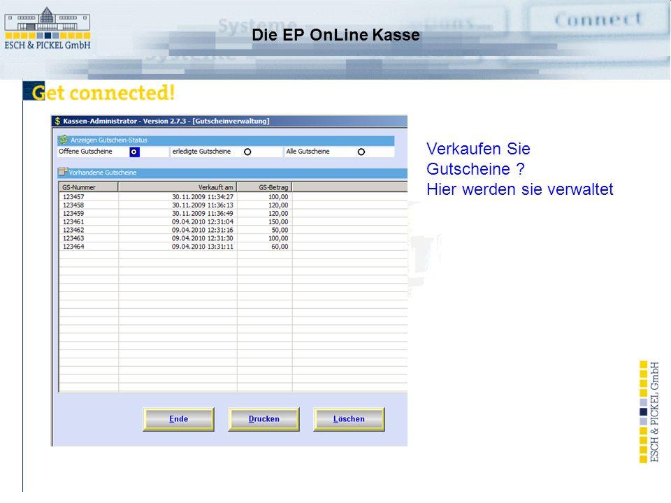Die EP OnLine Kasse Zugriff auf Mesonic Kostenrechnung oder eigene Verwaltung