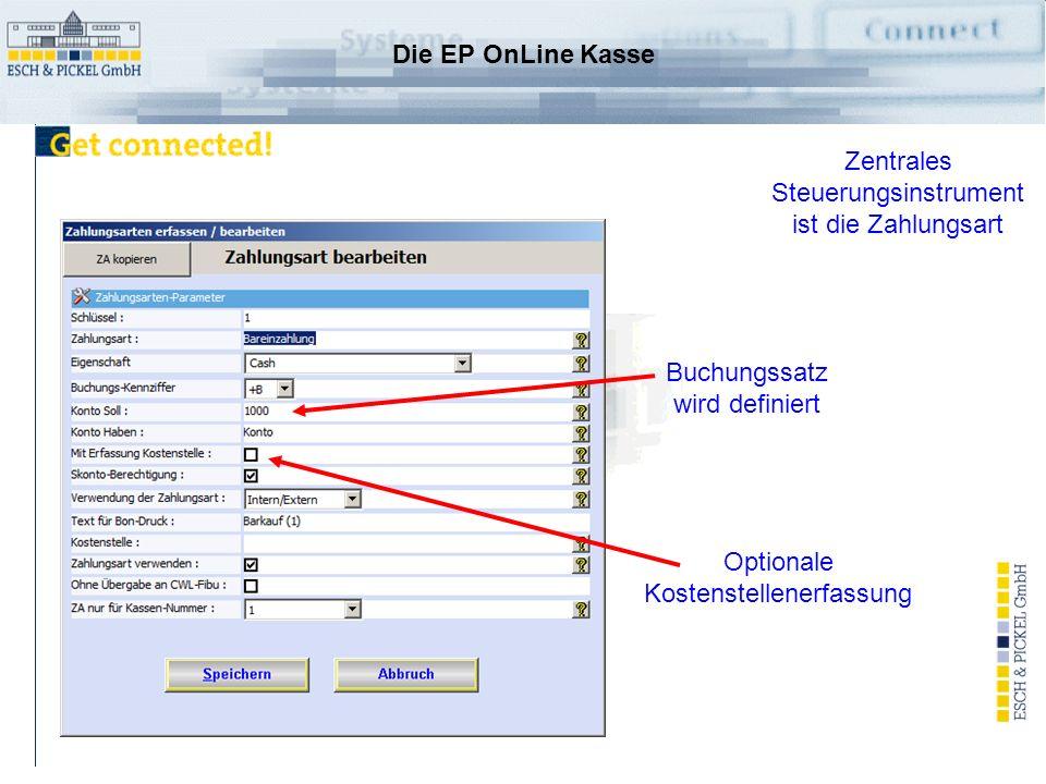 Zentrales Steuerungsinstrument ist die Zahlungsart Buchungssatz wird definiert Optionale Kostenstellenerfassung