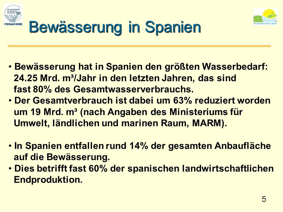 5 Bewässerung in Spanien Bewässerung hat in Spanien den größten Wasserbedarf: 24.25 Mrd. m³/Jahr in den letzten Jahren, das sind fast 80% des Gesamtwa