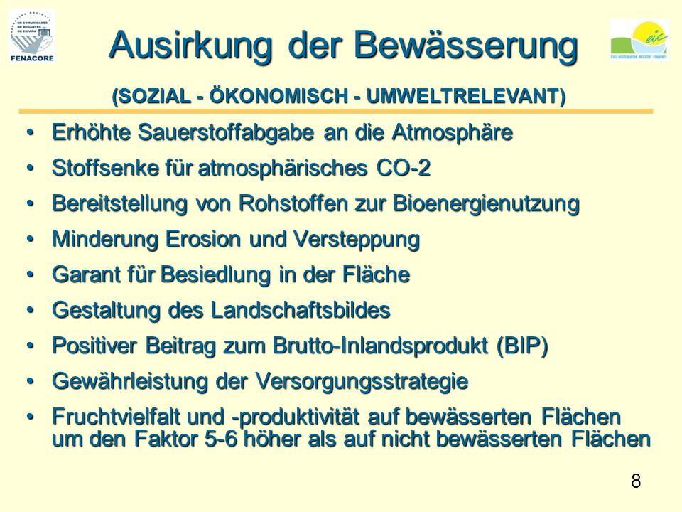 8 Ausirkung der Bewässerung Erhöhte Sauerstoffabgabe an die AtmosphäreErhöhte Sauerstoffabgabe an die Atmosphäre Stoffsenke für atmosphärisches CO-2St