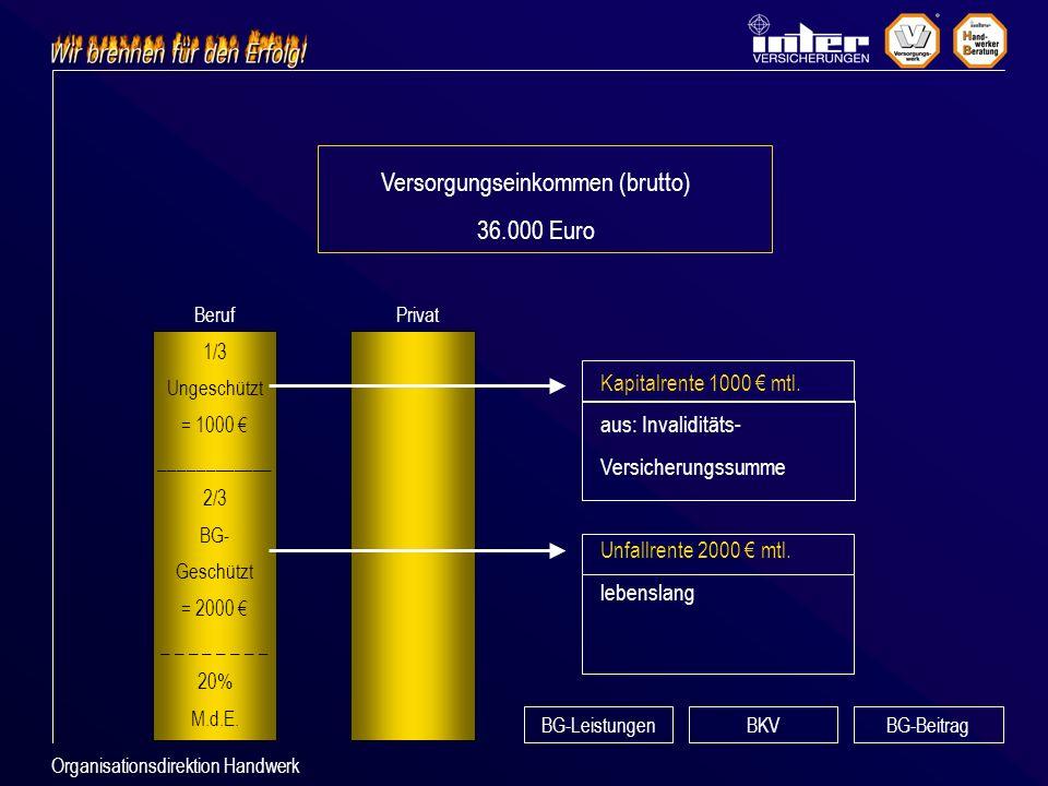 Organisationsdirektion Handwerk Versorgungseinkommen (brutto) 36.000 Euro Beruf 1/3 Ungeschützt = 1000 ____________ 2/3 BG- Geschützt = 2000 _ _ _ _ 20% M.d.E.