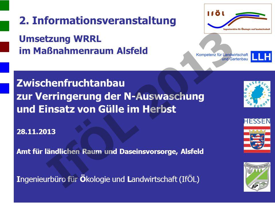 2. Informationsveranstaltung Umsetzung WRRL im Maßnahmenraum Alsfeld Zwischenfruchtanbau zur Verringerung der N-Auswaschung und Einsatz von Gülle im H