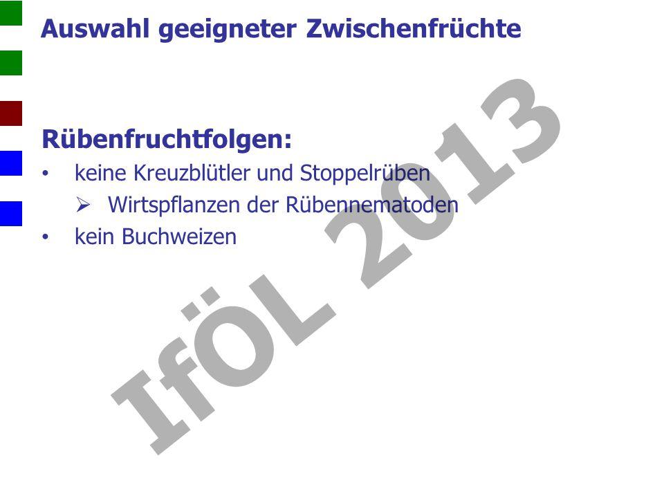 Rübenfruchtfolgen: keine Kreuzblütler und Stoppelrüben Wirtspflanzen der Rübennematoden kein Buchweizen Auswahl geeigneter Zwischenfrüchte IfÖL 2013
