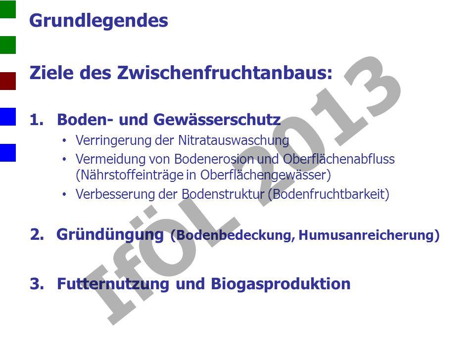 Praxiserfahrungen zum Zwischenfruchtanbau N min -Gehalt N-Gehalt im Pflanzenbestand IfÖL 2013