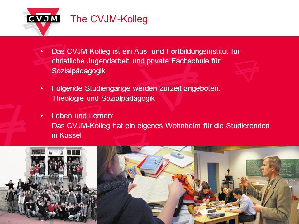 The CVJM-Kolleg Das CVJM-Kolleg ist ein Aus- und Fortbildungsinstitut für christliche Jugendarbeit und private Fachschule für Sozialpädagogik Folgende Studiengänge werden zurzeit angeboten: Theologie und Sozialpädagogik Leben und Lernen: Das CVJM-Kolleg hat ein eigenes Wohnheim für die Studierenden in Kassel