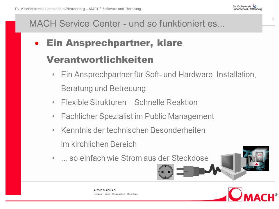 Ev. Kirchenkreis Lüdenscheid-Plettenberg - MACH ® Software und Beratung 4 2005 MACH AG Lübeck Berlin Düsseldorf München MACH Service Center - und so f