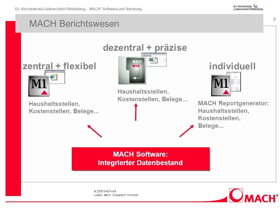 Ev. Kirchenkreis Lüdenscheid-Plettenberg - MACH ® Software und Beratung 6 2005 MACH AG Lübeck Berlin Düsseldorf München MACH Berichtswesen MACH Softwa
