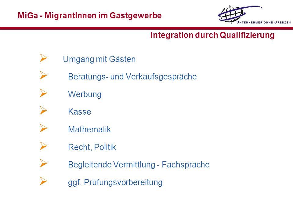 MiGa - MigrantInnen im Gastgewerbe Integration durch Qualifizierung Umgang mit Gästen Beratungs- und Verkaufsgespräche Werbung Kasse Mathematik Recht,