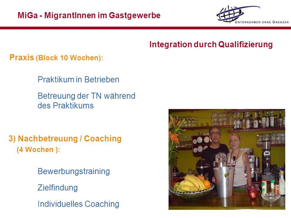 MiGa - MigrantInnen im Gastgewerbe Integration durch Qualifizierung Praxis (Block 10 Wochen): Praktikum in Betrieben Betreuung der TN während des Prak