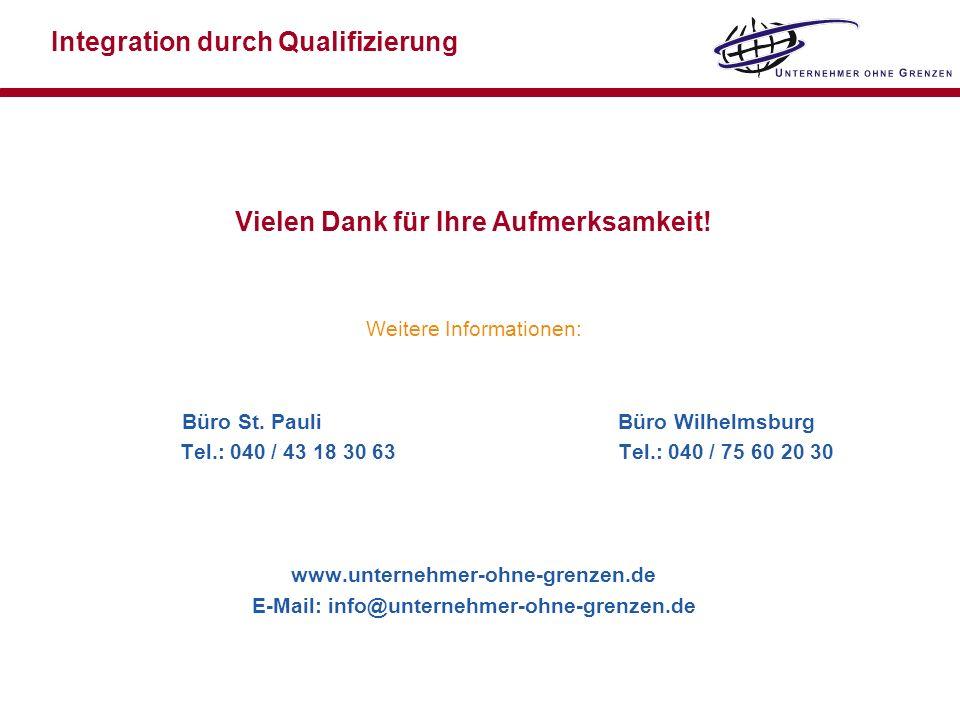 Vielen Dank für Ihre Aufmerksamkeit! Weitere Informationen: Büro St. Pauli Büro Wilhelmsburg Tel.: 040 / 43 18 30 63 Tel.: 040 / 75 60 20 30 www.unter