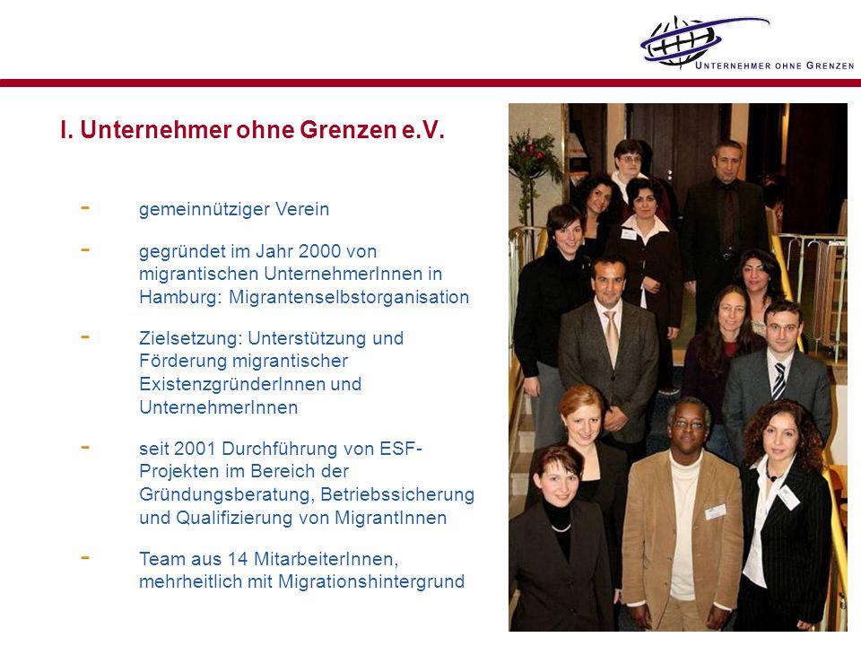 I. Unternehmer ohne Grenzen e.V. - gemeinnütziger Verein - gegründet im Jahr 2000 von migrantischen UnternehmerInnen in Hamburg: Migrantenselbstorgani