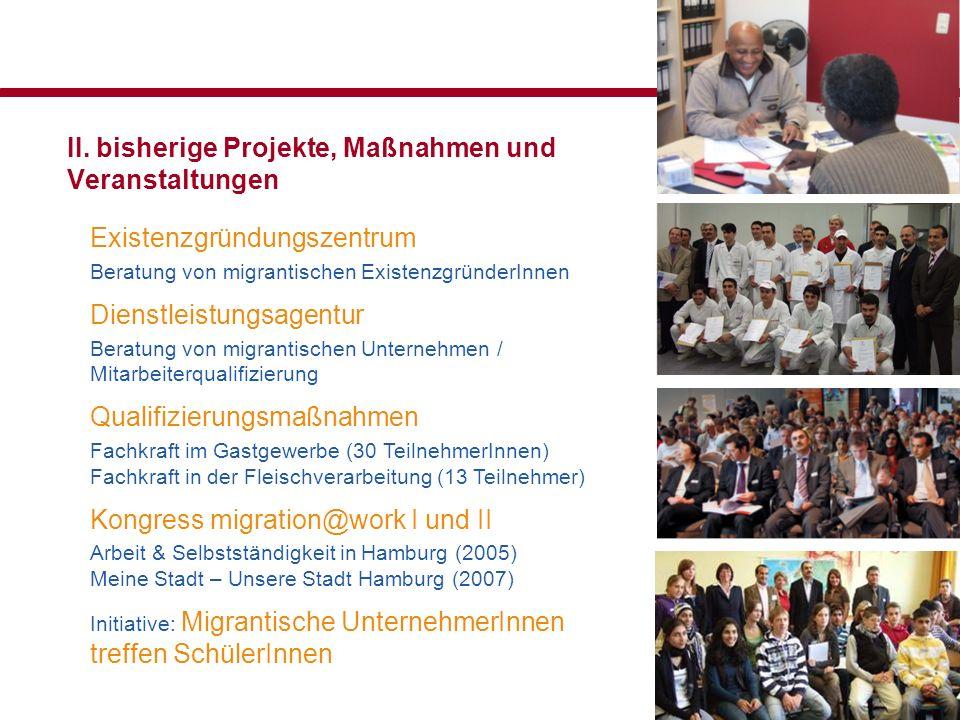 II. bisherige Projekte, Maßnahmen und Veranstaltungen Existenzgründungszentrum Beratung von migrantischen ExistenzgründerInnen Dienstleistungsagentur