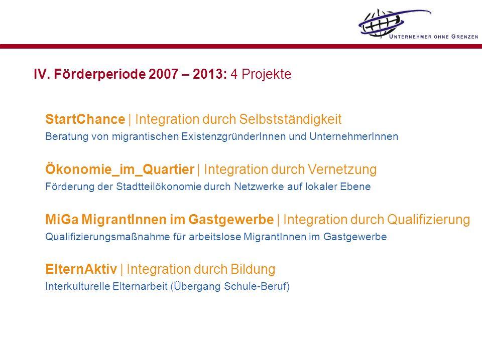IV. Förderperiode 2007 – 2013: 4 Projekte StartChance | Integration durch Selbstständigkeit Beratung von migrantischen ExistenzgründerInnen und Untern