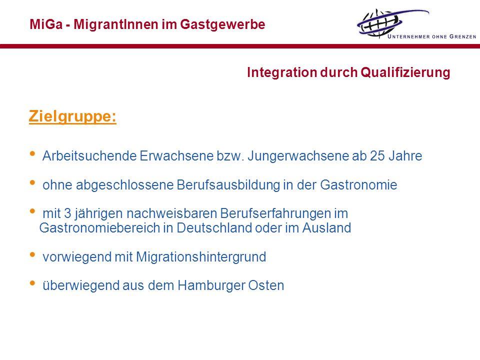 MiGa - MigrantInnen im Gastgewerbe Integration durch Qualifizierung Zielgruppe: Arbeitsuchende Erwachsene bzw. Jungerwachsene ab 25 Jahre ohne abgesch