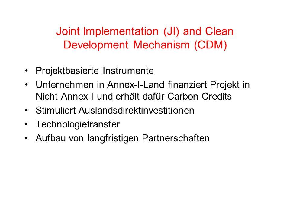 Joint Implementation (JI) and Clean Development Mechanism (CDM) Projektbasierte Instrumente Unternehmen in Annex-I-Land finanziert Projekt in Nicht-Annex-I und erhält dafür Carbon Credits Stimuliert Auslandsdirektinvestitionen Technologietransfer Aufbau von langfristigen Partnerschaften