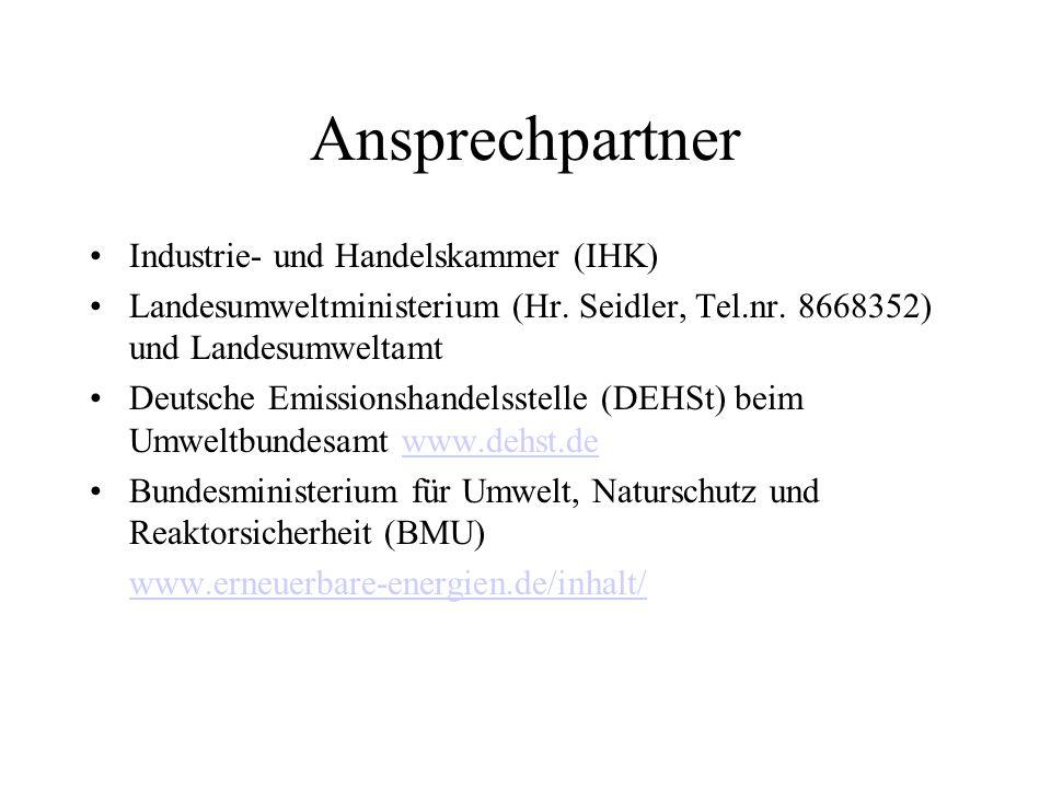 Ansprechpartner Industrie- und Handelskammer (IHK) Landesumweltministerium (Hr.