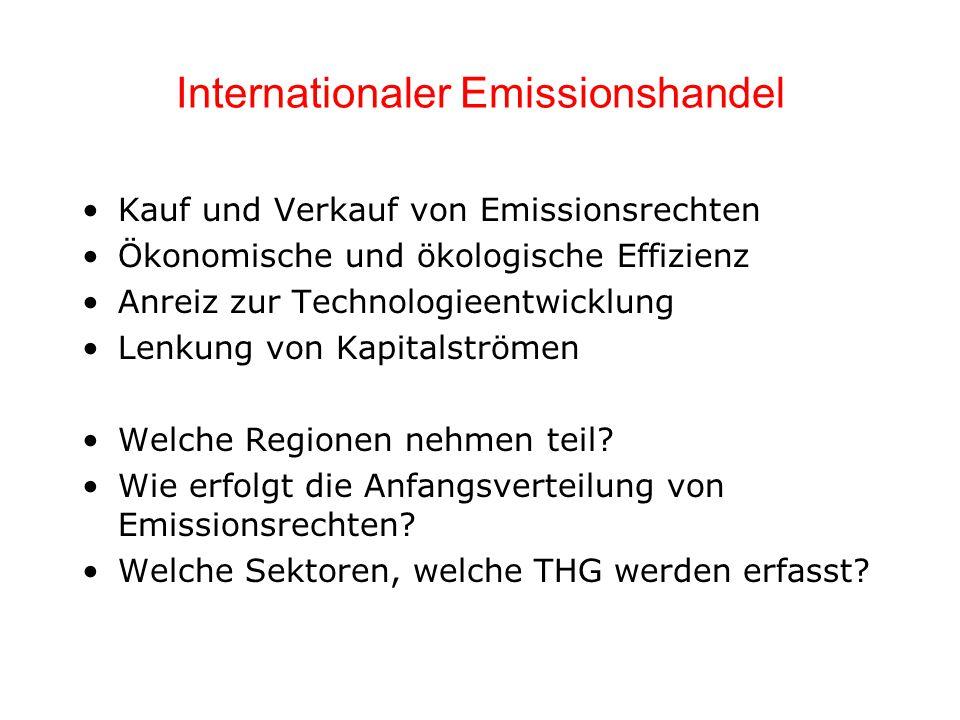 Internationaler Emissionshandel Kauf und Verkauf von Emissionsrechten Ökonomische und ökologische Effizienz Anreiz zur Technologieentwicklung Lenkung von Kapitalströmen Welche Regionen nehmen teil.