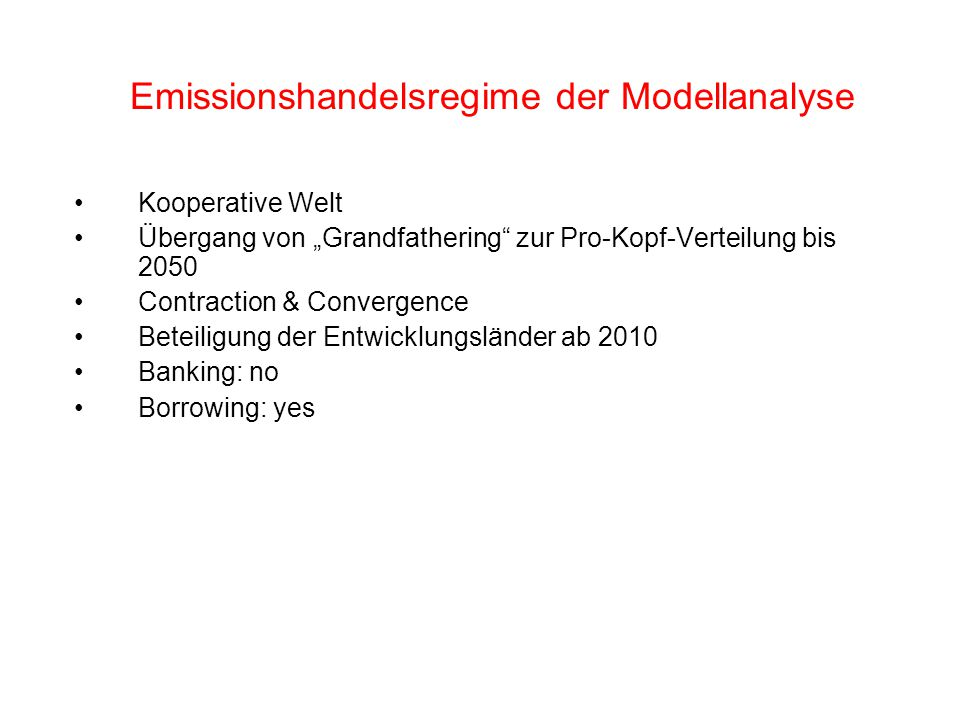 Internationaler Emissionshandel (Modellanalyse)