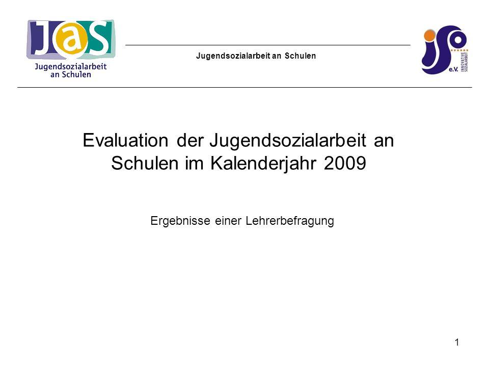 Jugendsozialarbeit an Schulen Inhalt: 1.Teilnehmende Schulen 2.Grundgesamtheit und Rücklaufquote 3.Ergebnisse der Auswertung 4.Fazit 2