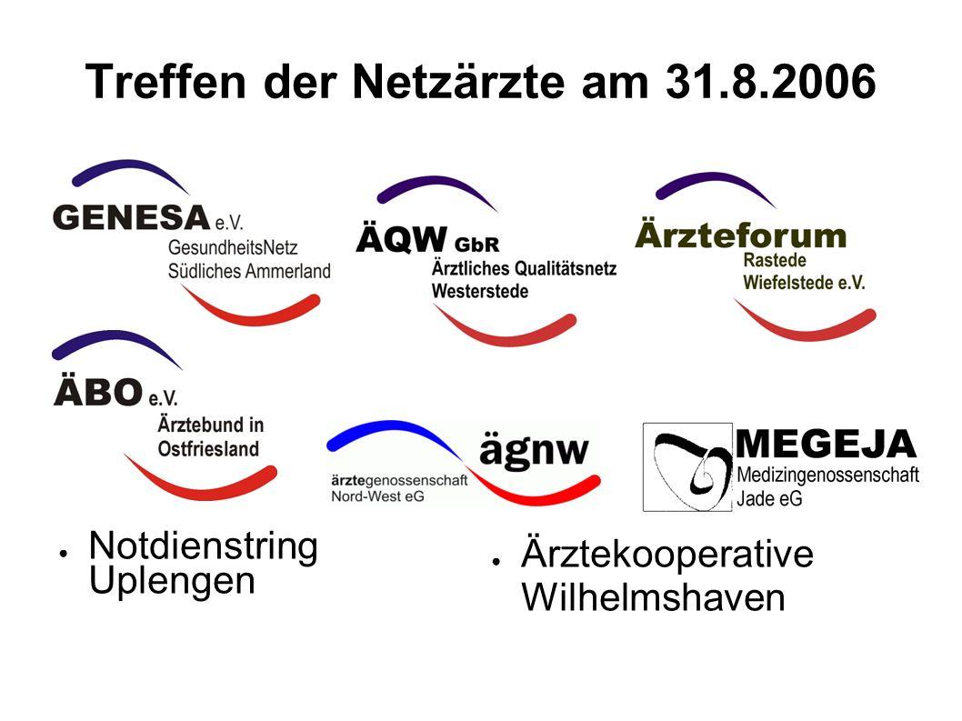 1 Treffen der Netzärzte am 31.8.2006 Notdienstring Uplengen Ärztekooperative Wilhelmshaven