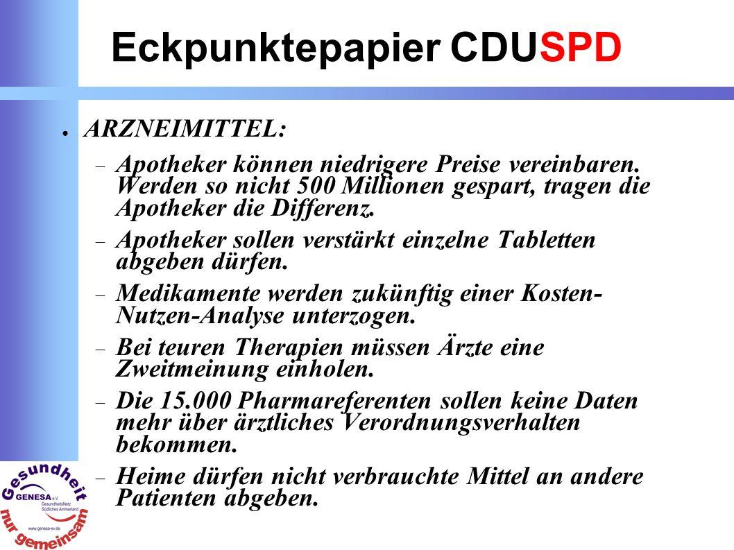 Eckpunktepapier CDUSPD ARZNEIMITTEL: Apotheker können niedrigere Preise vereinbaren.