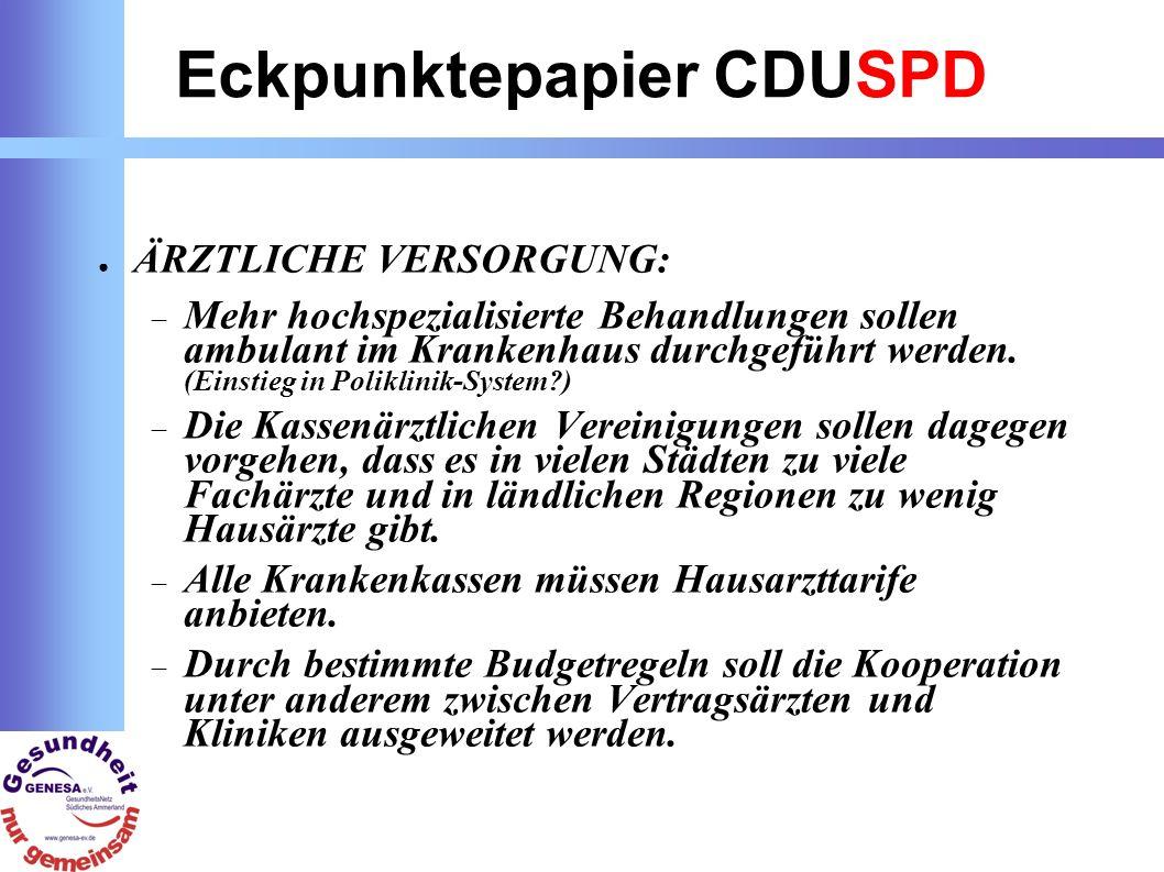 Eckpunktepapier CDUSPD ÄRZTLICHE VERSORGUNG: Mehr hochspezialisierte Behandlungen sollen ambulant im Krankenhaus durchgeführt werden.