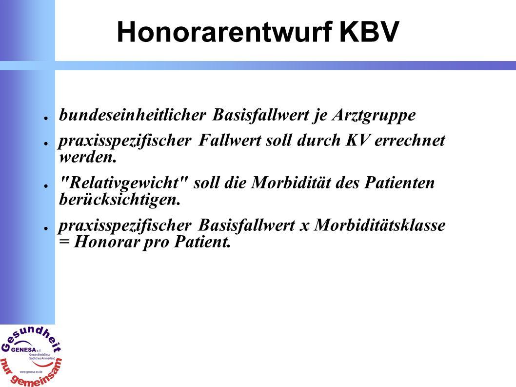 Honorarentwurf KBV bundeseinheitlicher Basisfallwert je Arztgruppe praxisspezifischer Fallwert soll durch KV errechnet werden.