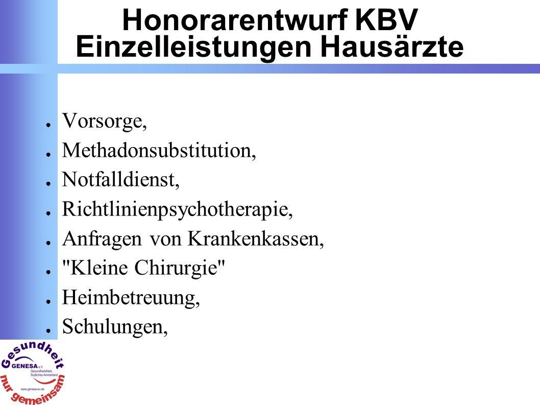 Honorarentwurf KBV Einzelleistungen Hausärzte Vorsorge, Methadonsubstitution, Notfalldienst, Richtlinienpsychotherapie, Anfragen von Krankenkassen, Kleine Chirurgie Heimbetreuung, Schulungen,