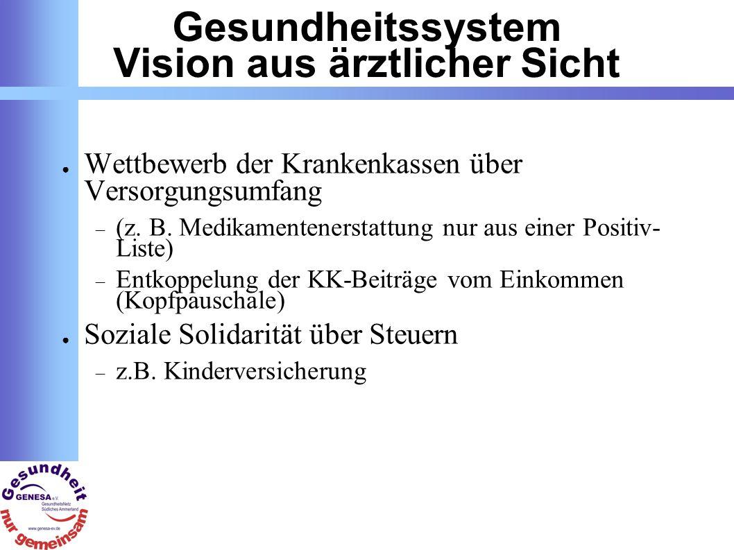 Gesundheitssystem Vision aus ärztlicher Sicht Wettbewerb der Krankenkassen über Versorgungsumfang (z.
