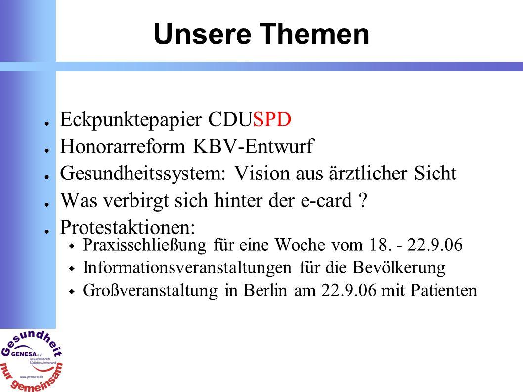 Unsere Themen Eckpunktepapier CDUSPD Honorarreform KBV-Entwurf Gesundheitssystem: Vision aus ärztlicher Sicht Was verbirgt sich hinter der e-card .