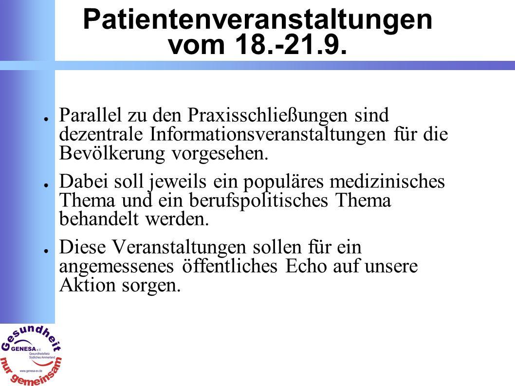 Patientenveranstaltungen vom 18.-21.9.