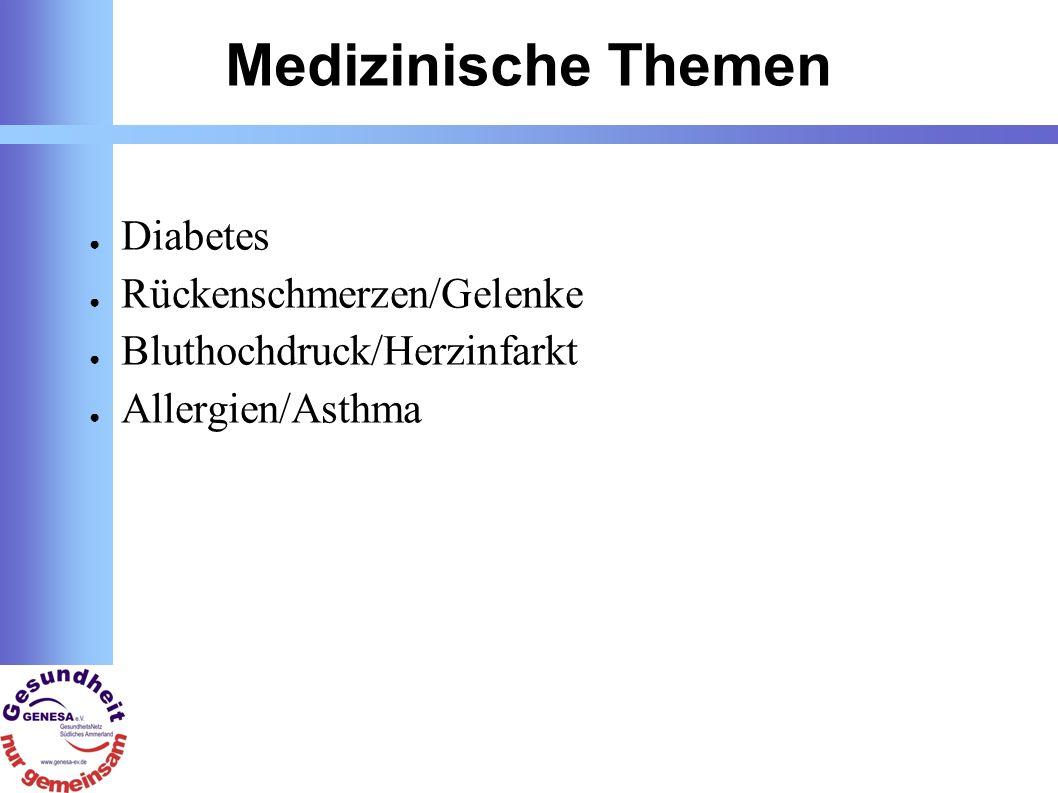 Medizinische Themen Diabetes Rückenschmerzen/Gelenke Bluthochdruck/Herzinfarkt Allergien/Asthma