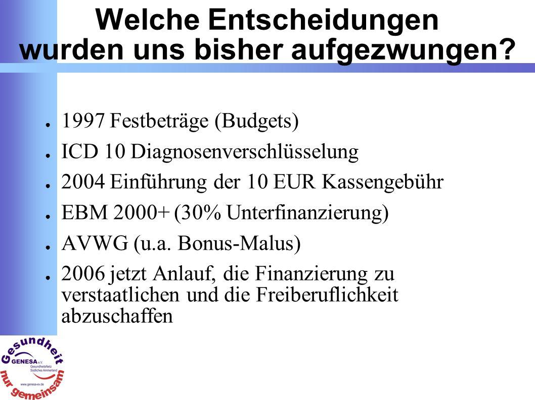 Berufspolitische Themen Gesundheitsreform 2006: Damit die Krankenkasse gesund bleibt und nicht der Patient.