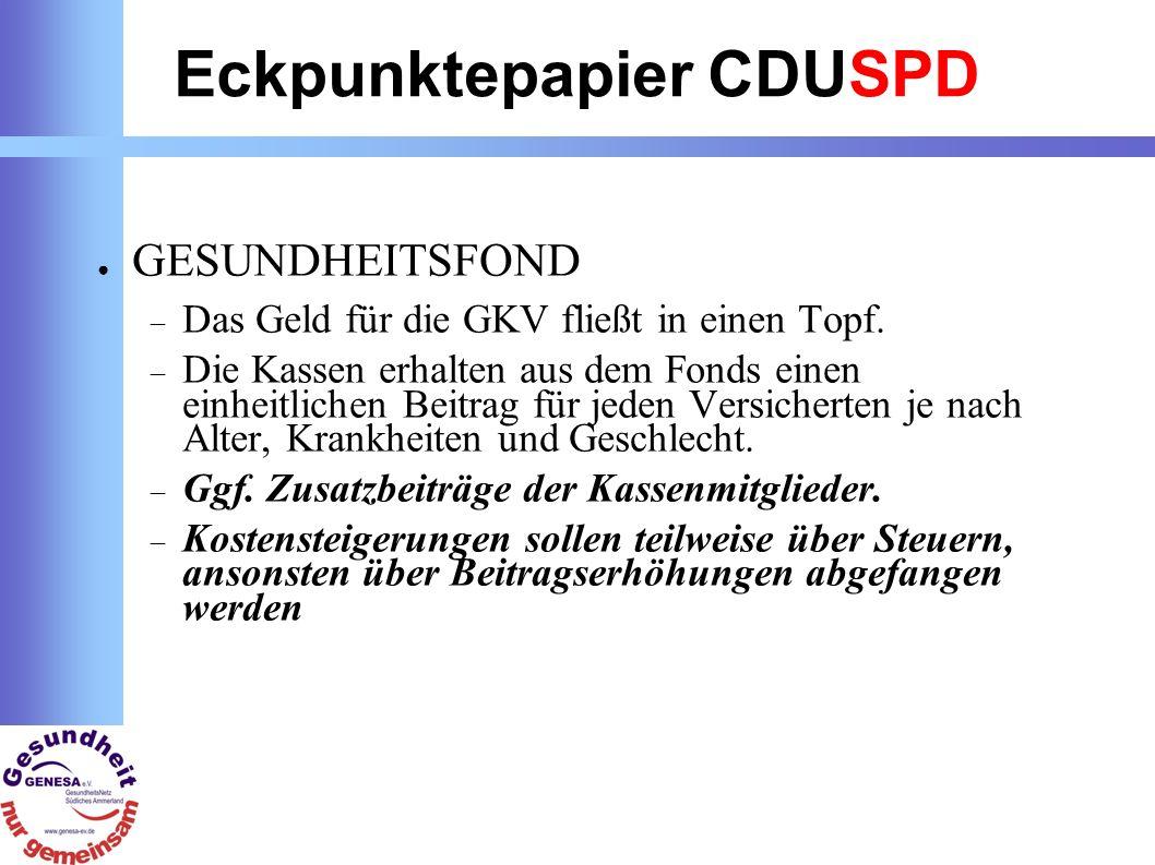 Eckpunktepapier CDUSPD GESUNDHEITSFOND Das Geld für die GKV fließt in einen Topf.