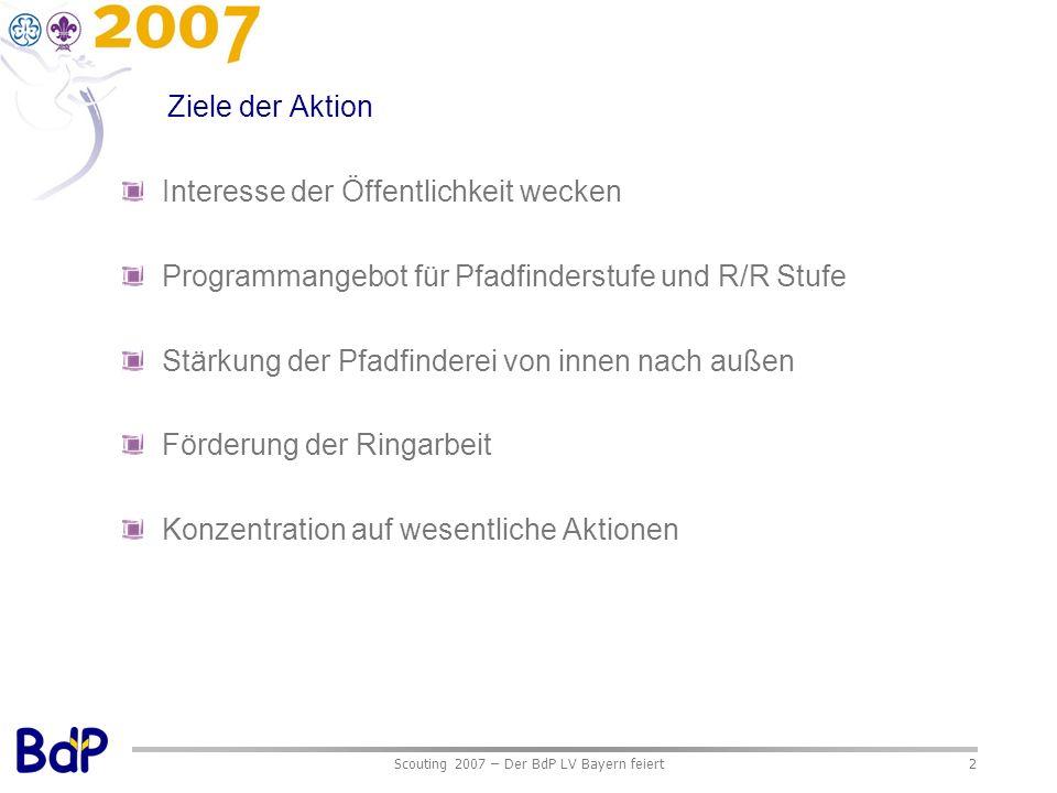 Scouting 2007 – Der BdP LV Bayern feiert2 Ziele der Aktion Interesse der Öffentlichkeit wecken Programmangebot für Pfadfinderstufe und R/R Stufe Stärk