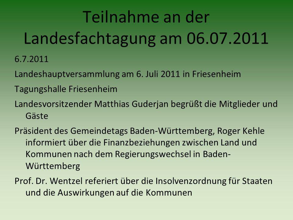6.7.2011 Landeshauptversammlung am 6. Juli 2011 in Friesenheim Tagungshalle Friesenheim Landesvorsitzender Matthias Guderjan begrüßt die Mitglieder un