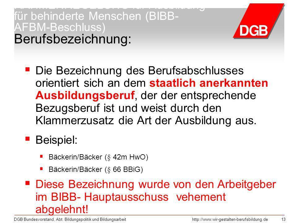 DGB Bundesvorstand, Abt. Bildungspolitik und Bildungsarbeithttp://www.wir-gestalten-berufsbildung.de 13 RAHMENREGELUNG für Ausbildung für behinderte M