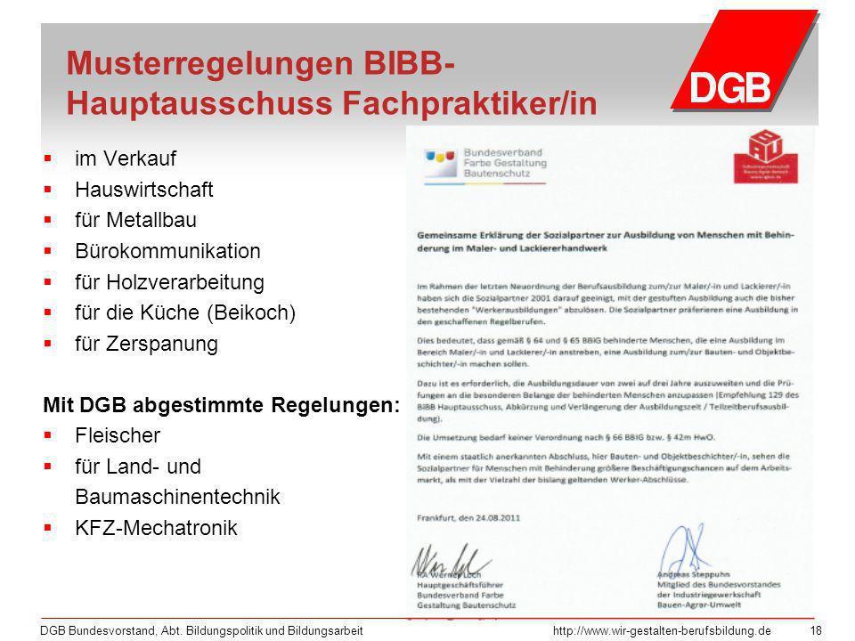 DGB Bundesvorstand, Abt. Bildungspolitik und Bildungsarbeithttp://www.wir-gestalten-berufsbildung.de 18 im Verkauf Hauswirtschaft für Metallbau Büroko