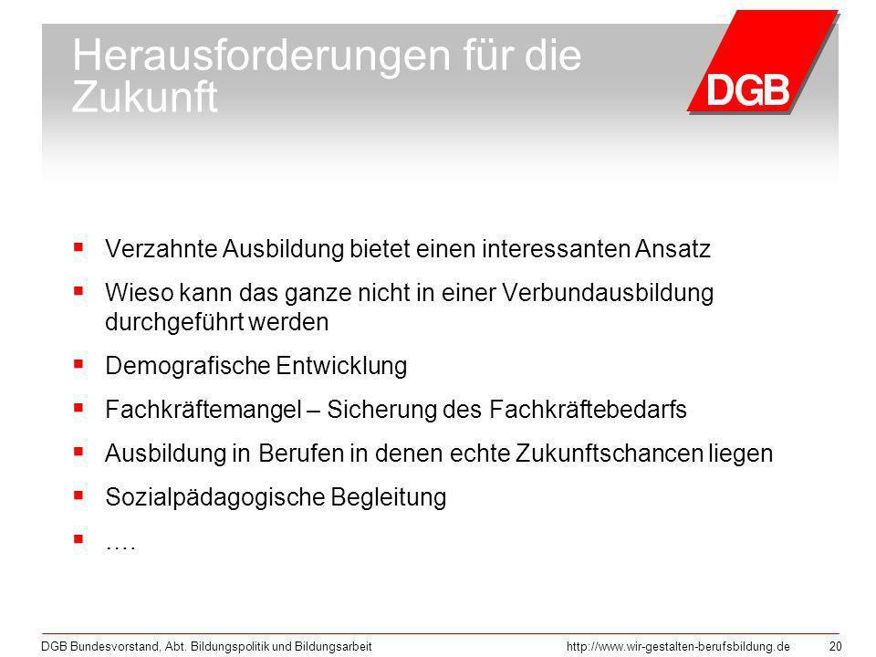 DGB Bundesvorstand, Abt. Bildungspolitik und Bildungsarbeithttp://www.wir-gestalten-berufsbildung.de 20 Herausforderungen für die Zukunft Verzahnte Au