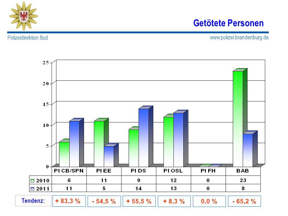 www.polizei.brandenburg.de Polizeidirektion Süd Getötete Personen Tendenz: + 83,3 % - 54,5 % + 55,5 %- 65,2 % + 8,3 %0,0 %