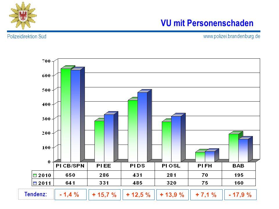 www.polizei.brandenburg.de Polizeidirektion Süd VU mit Personenschaden Tendenz: - 1,4 % + 15,7 % + 12,5 %- 17,9 % + 13,9 %+ 7,1 %