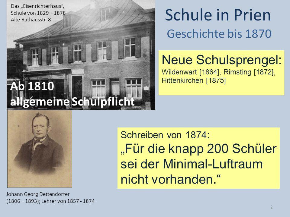 Neue Schulsprengel: Wildenwart [1864], Rimsting [1872], Hittenkirchen [1875] Schule in Prien Geschichte bis 1870 Ab 1810 allgemeine Schulpflicht Johan