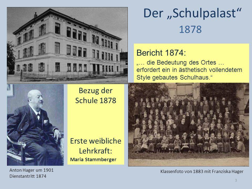 Bericht 1874: … die Bedeutung des Ortes … erfordert ein in ästhetisch vollendetem Style gebautes Schulhaus. Der Schulpalast 1878 Anton Hager um 1901 D