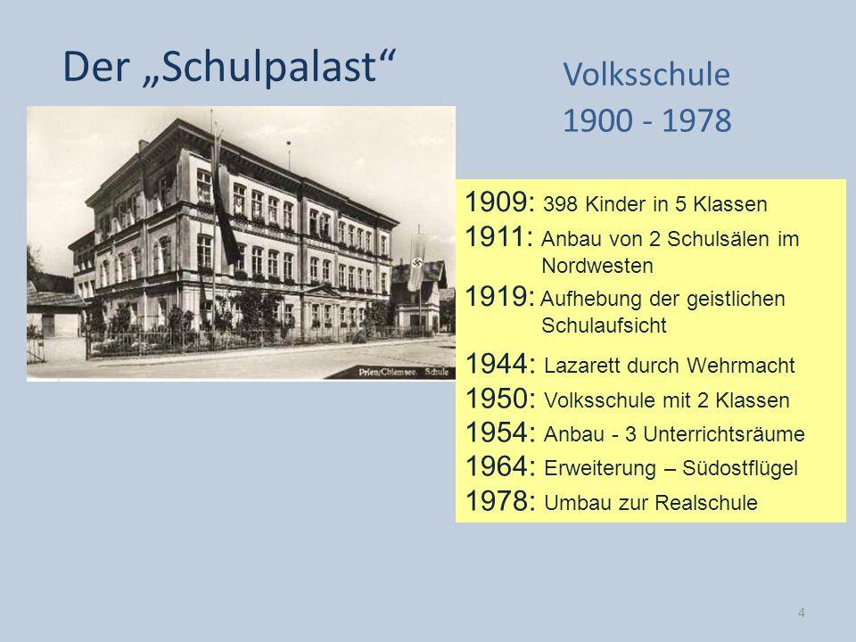 1909: 398 Kinder in 5 Klassen 1911: Anbau von 2 Schulsälen im Nordwesten 1919: Aufhebung der geistlichen Schulaufsicht Der Schulpalast Volksschule 190