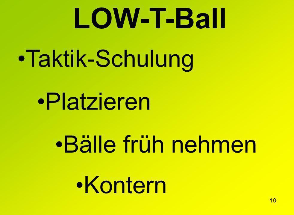 10 LOW-T-Ball Taktik-Schulung Platzieren Bälle früh nehmen Kontern